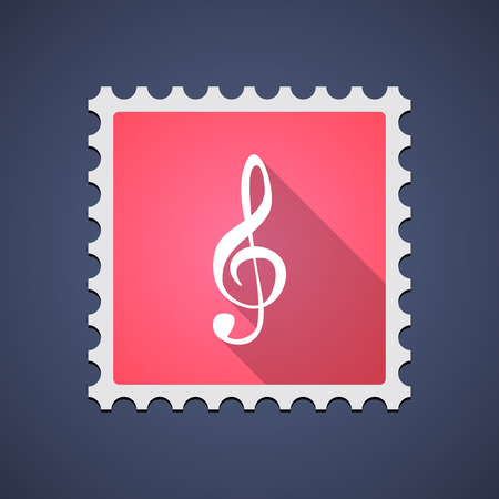 g clef: Illustration of a red mail stamp icon with a g clef