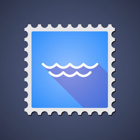 Illustration of a blue mail stamp icon with a water sign