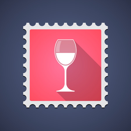 philately: Illustration of a red mail stamp icon with a glass of wine Illustration