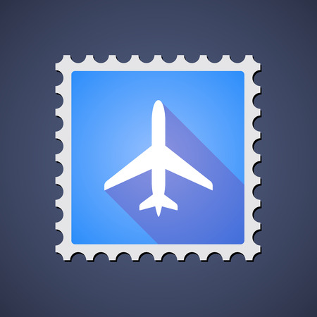 reise retro: Illustration von einem blauen Mail-Stempel-Symbol mit einer Ebene Illustration