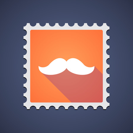 philately: Illustration of an orange mail stamp icon with a moustache Illustration