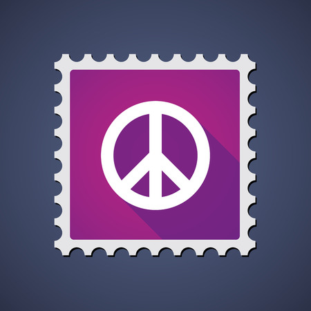 peace stamp: Illustration of a purple mail stamp icon with a peace sign