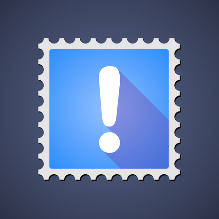 admiration: Illustration of a blue mail stamp icon with an admiration sign