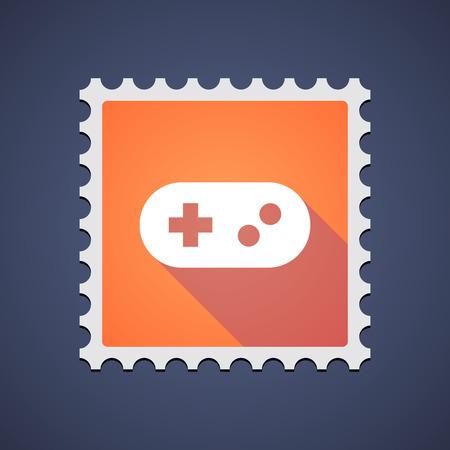 game pad: Illustration of an orange mail stamp icon with a game pad Illustration