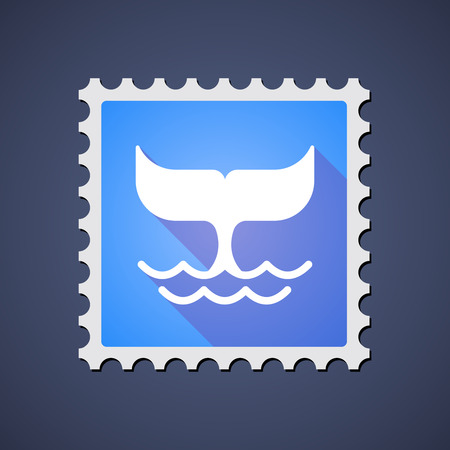 philately: Illustration of a blue mail stamp icon with a whale tail