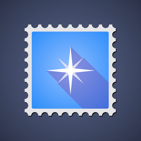 Illustration of a blue mail stamp icon with a sparkle
