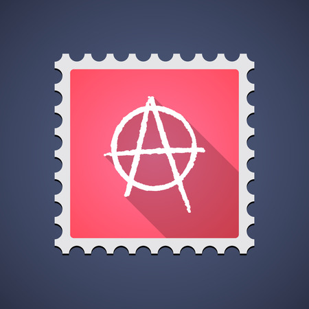 riot: Illustration of a red mail stamp icon with an anarchy sign