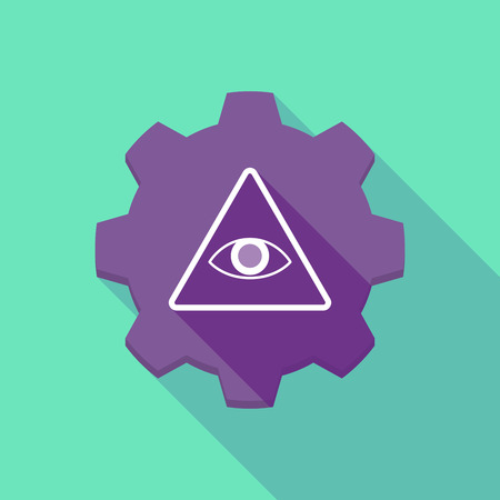 all seeing eye: Illustration of a long shadow gear icon with an all seeing eye