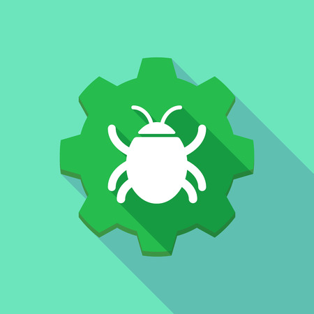 worm gear: Illustration of a long shadow gear icon with a bug Illustration
