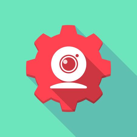 cam gear: Illustration of a long shadow gear icob with a web cam