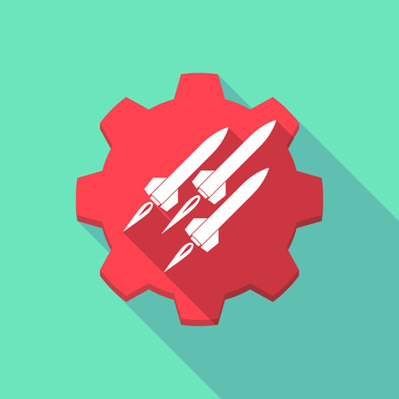 missiles: Illustration of a long shadow gear icon with missiles