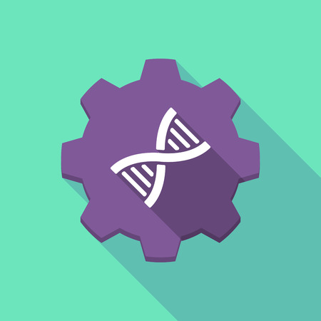 dna helix: Illustration of a long shadow gear icon with a DNA sign