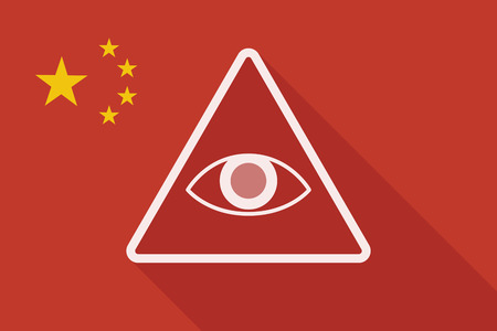 seeing: Illustration of a China long shadow flag with an all seeing eye Illustration