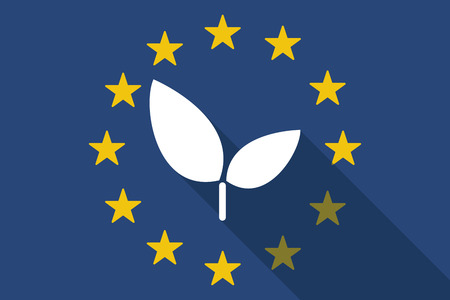 Illustration of an European Union long shadow flag with a plant