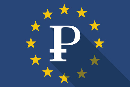 commission: Illustration of an European Union  long shadow flag with a ruble sign