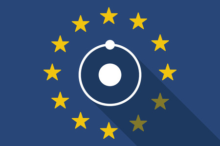 commission: Illustration of an European Union long shadow flag with an atom
