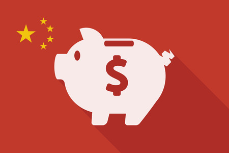 piggy: Illustration of a China long shadow flag with a piggy bank