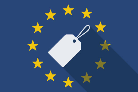 commission: Illustration of an European Union long shadow flag with a label Illustration