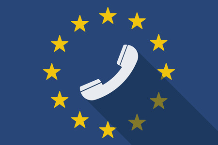 commission: Illustration of an European Union long shadow flag with a phone Illustration