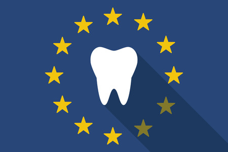 commission: Illustration of an European Union long shadow flag with a tooth Illustration