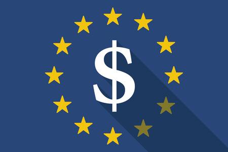 dolar: Ilustración de una bandera larga sombra de la Unión Europea con un signo de dolar Vectores