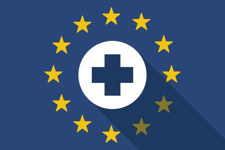Illustration of an European Union long shadow flag with a pharmacy pill