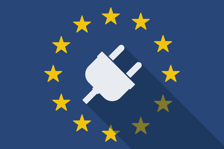 commission: Illustration of an European Union long shadow flag with a plug Illustration