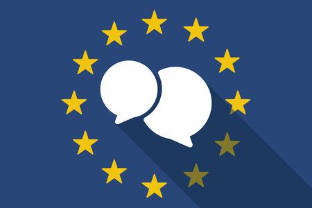 european euro: Illustration of an European Union  long shadow flag with a comic balloon Illustration