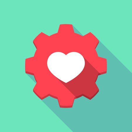 valentine passion: Illustration of a long shadow gear icon with a heart