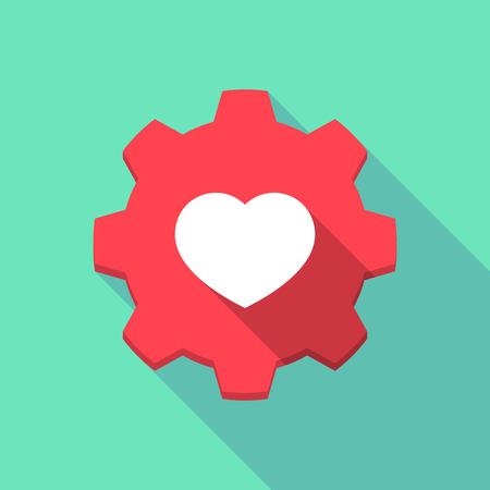 pasion: Ilustraci�n de un icono de engranaje larga sombra con un coraz�n