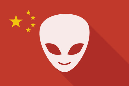 alien face: Illustration of a China long shadow flag with an alien face