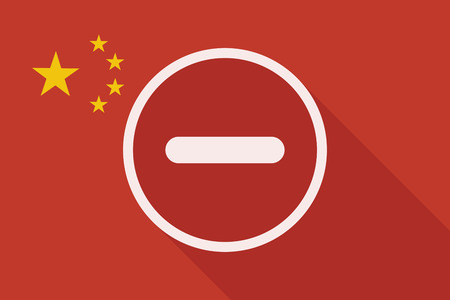 subtraction: Illustration of a China long shadow flag with a subtraction sign