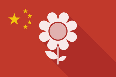 Illustration of a China long shadow flag with a flower Çizim