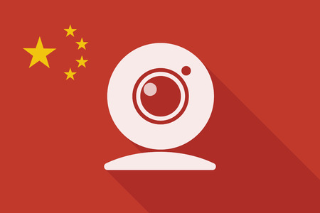 sign symbol: Illustration of a China long shadow flag with a web cam Illustration