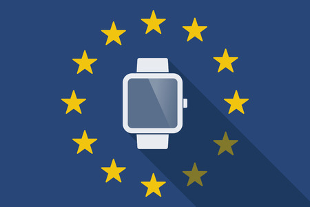 commission: Illustration of an European Union long shadow flag with a smart watch