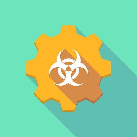 biohazard sign: Illustration of a long shadow gear icon with a biohazard sign