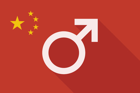 chinese sex: Illustration of a China long shadow flag with a male sign