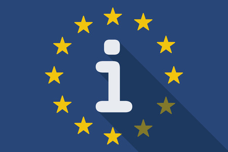 european flags: Illustration of an European Union  long shadow flag with an info sign
