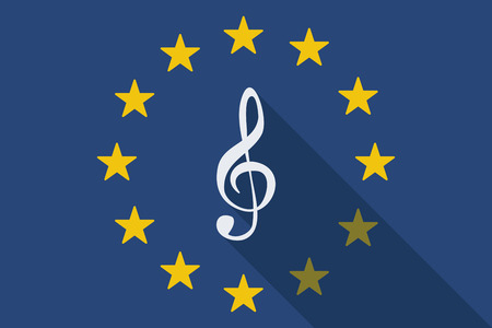 g clef: Illustration of an European Union  long shadow flag with a g clef