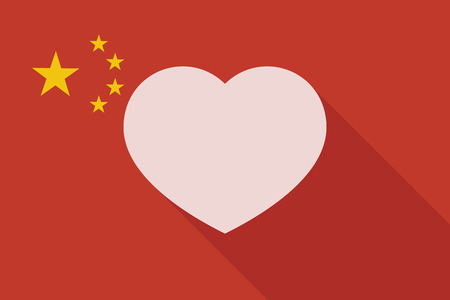 asian couple: Illustration of a China long shadow flag with a heart