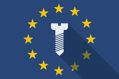 euro screw: Illustration of an European Union  long shadow flag with a screw