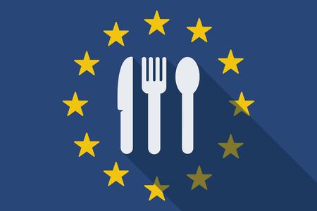 Illustratie van een Europese Unie lange schaduw vlag met bestek
