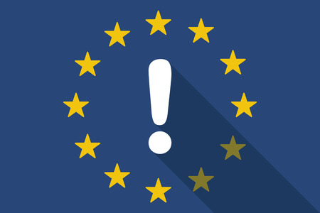 commission: Illustration of an European Union  long shadow flag with an exclamation sign