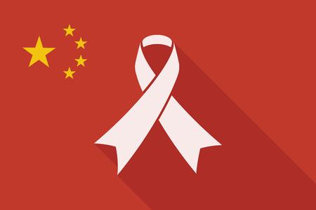 social awareness symbol: Illustration of a China long shadow flag with a ribbon