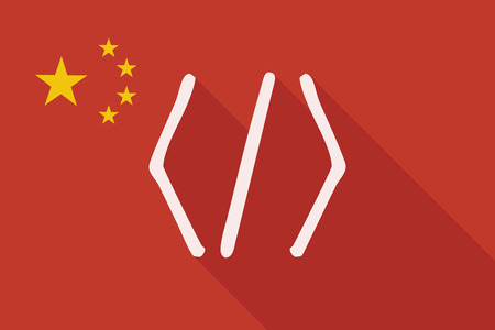 php: Illustration of a China long shadow flag with a code sign Illustration