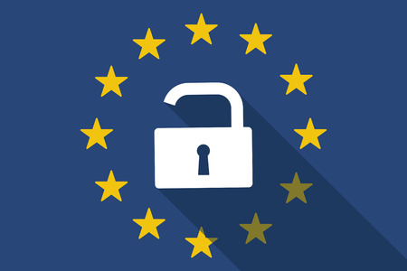 closed community: Illustration of an European Union long shadow flag with a lock pad Illustration