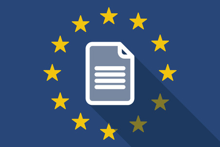 Illustration of an European Union  long shadow flag with a document