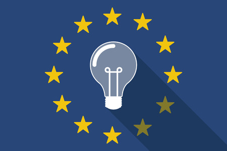 commission: Illustration of an European Union  long shadow flag with a light bulb Illustration