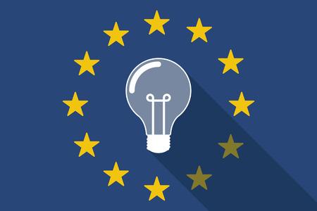 Illustration of an European Union  long shadow flag with a light bulb Illustration