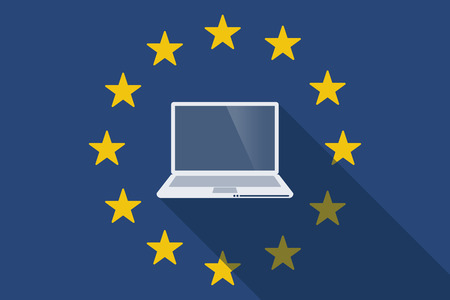 commission: Illustration of an European Union long shadow flag with a laptop
